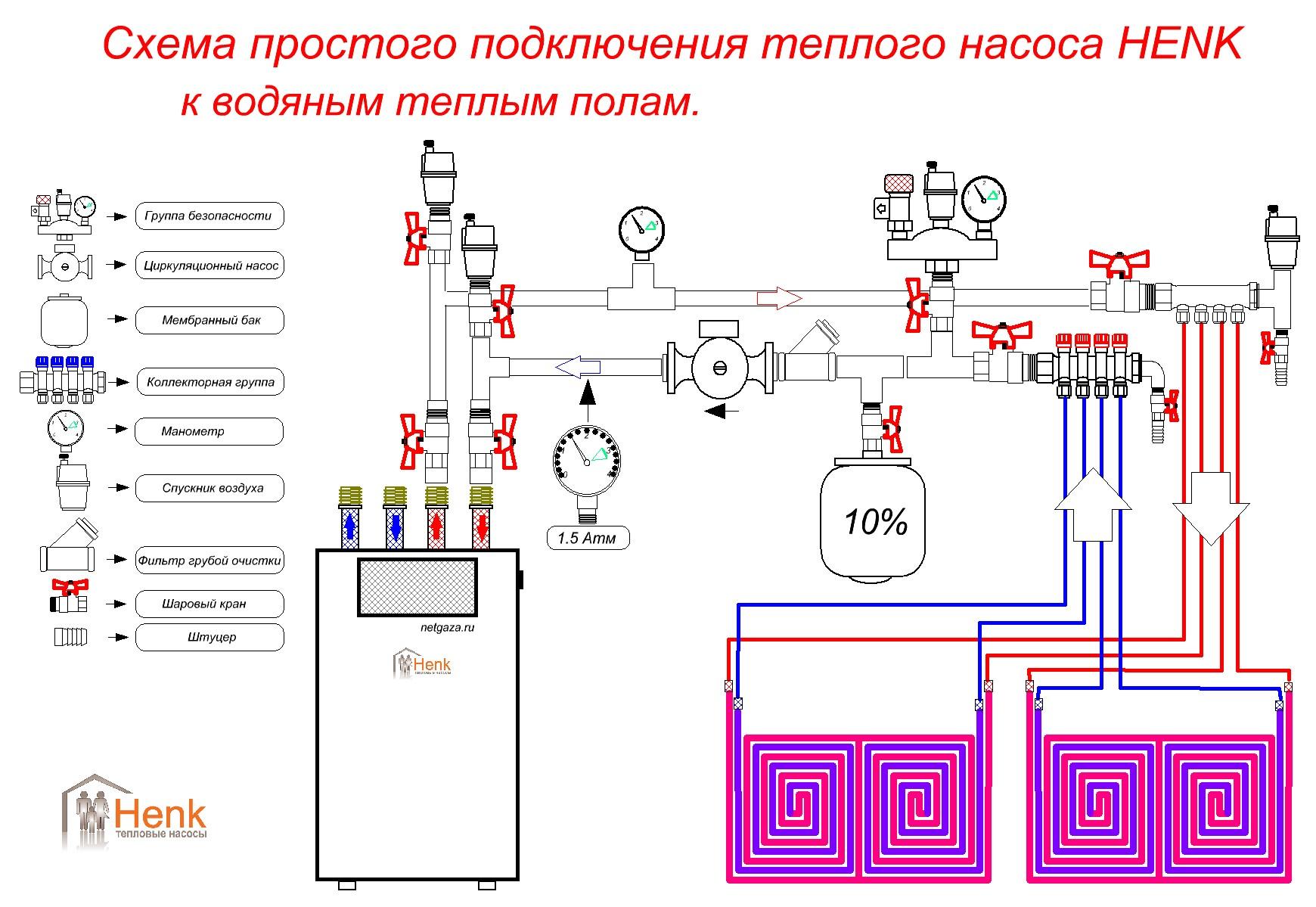 Гидравлическая схема работы теплового насоса с теплообменником фреон - вода о растворах для промывки теплообменников